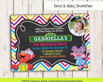 SESAME STREET Invitation, Sesame Street, Birthday Invitation, Elmo, Abby, Printable, DIY, Digital File, Invite, Birthday Party