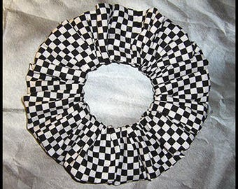 Checkered Hair Scrunchie, Soccer,Racing,Coaching Ponytail Holder, Adult Large Hair Tie