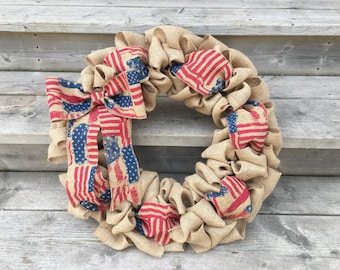 Patriotic  Wreath, Patriotic Burlap Wreath, 4th of July Wreath, Summer Wreath, Stripes and Stars Wreath, Red, White and Blue