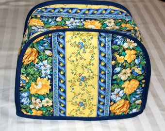 Toaster Cover - Small Toaster Cover - 2-Slice Toaster Cover - Kitchen Accessory Cover - Yellow and Blue