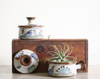 2 Vintage Ken Edwards Stoneware Covered Soup Bowls / Tonala Pottery / Mexican Folk Art