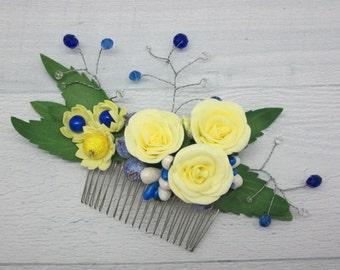 Crystal bridal comb Wedding rose hair Wedding crystal comb Wedding flower comb Floral bride rustic Floral bride comb Crystal hairpiece comb
