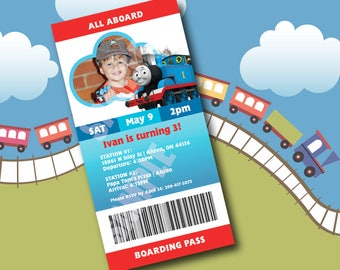 Train Birthday Invite - Boarding Pass Ticket Invitation - DIGITAL FILE