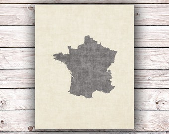 Map of France French Printable Art Print Instant Digital Download France French Paris Lover Art Print Francophile Home Decor Wall Art
