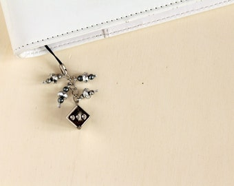 Filofax planner charm, grey planner accessories, charm with silver dice and beads