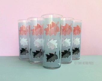 Hi-ball glasses with leaf print, set of five