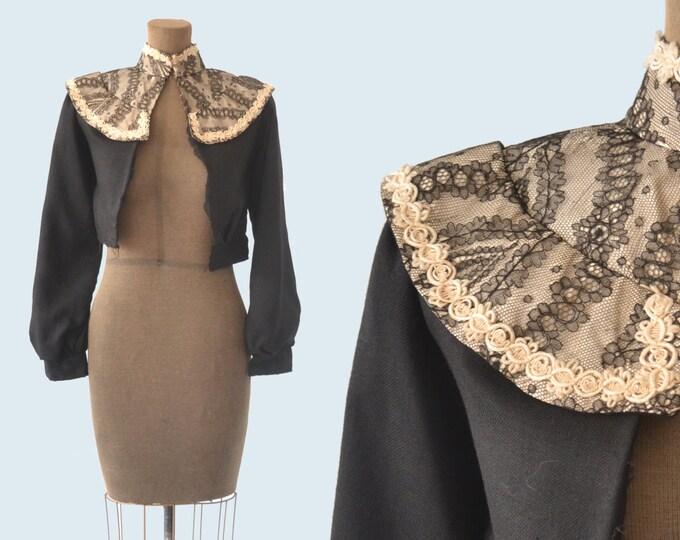 Victorian Black Wool Blouse size XS