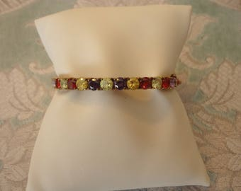 Gold Over Sterling Silver Vintage Faceted Multi-Color Stone Side Latch Bangle Bracelet For Small Wrist