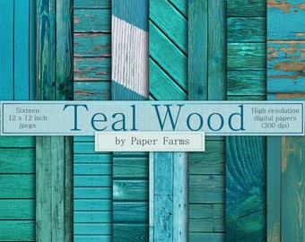 Teal wood backgrounds, teal wood digital paper, teal wood textures, shabby wood, vertical panels, horizontal panels, teal, INSTANT DOWNLOAD