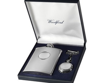Personalised Quartz Chrome Pocket Watch & 6oz Stainless Steel Hipflask Gift Set