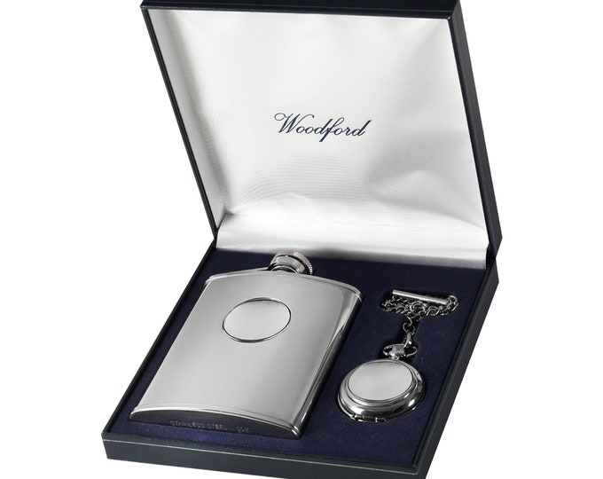 Personalised Quartz Chrome Pocket Watch & 6oz Stainless Steel Hip Flask Gift Set