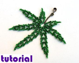 Tutorial: Pot leaf pendant Hemp leaf pendant Beading instructions Beading pattern Beaded pendant pattern Weed Grass PDF tutorial T24