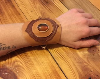 Leather with Recycled Amber look jewel