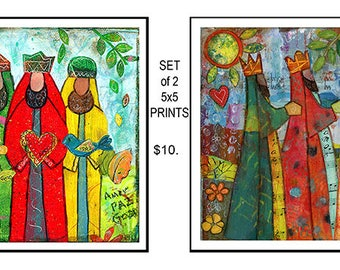 Prints Set of Two 5x5 Three Wise Men Collage Painting by Elizabeth Claire