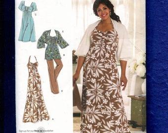 Simplicity 2947 Flirty Empire Waist Halter Dress or Top & Shrug Size 18W to 24W UNCUT