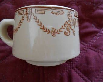 Set of 4 Restaurant Ware Coffee Cups, 4 Tan/Brown Wallace China Cups