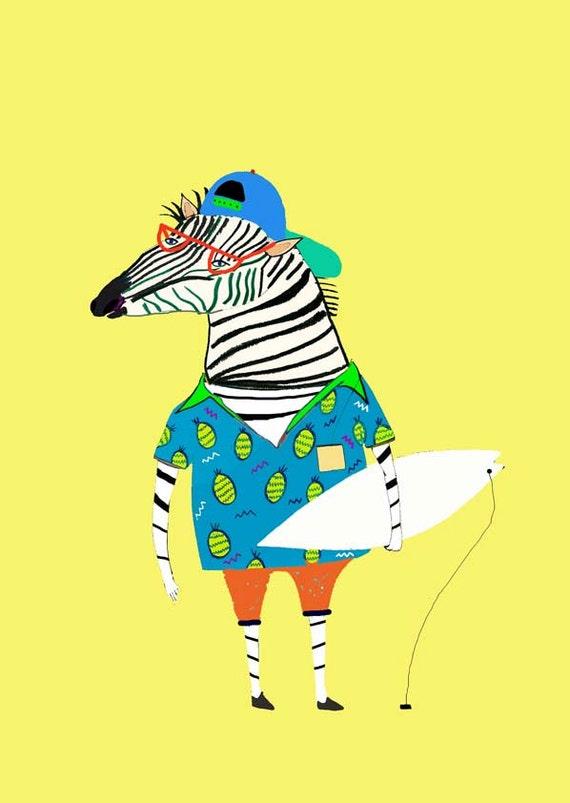 Zebra Surfer in Pineapple Shirt. Wall art for kids
