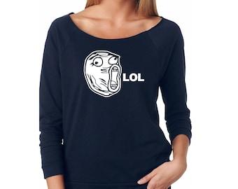 Slouchy Sweatshirt, LOL Meme Sweatshirt, Rage Comic, Funny Sweater, Lightweight 3/4 Sleeve Raw Edge Raglan, Ringspun Cotton