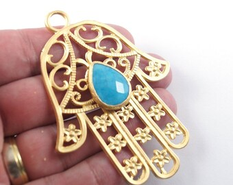 1pc Matte 22K Gold Plated Base Hand of Hamsa with Blue Jade Pendant - Hand 80x60mm (020-027GP)