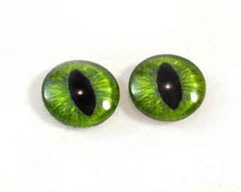 16mm Green Cat or Dragon Glass Eye Cabochons - Evil Eyes for Doll or Jewelry Making - Set of 2
