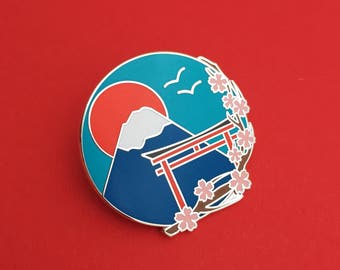 Japan Mount Fuji Cherry Blossom Enamel Pin Badge - Pretty Pin, Lapel Pin