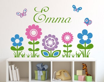 Flowers and Butterflies with Personalized Name Wall Decal