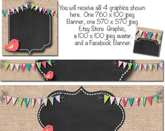 DIY Blank Etsy Banner and Facebook Set - BurlapBird- Customize for your Store