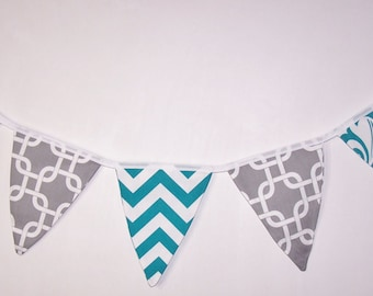 Fabric Bunting. Flags. Banner. Wedding Banner. Party Banner. Baby Shower Bunting. Wedding  Bunting. Turquoise White Bunting. Ready To Ship