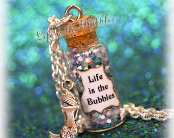 Life is the Bubbles Necklace with a Mermaid Charm The Little Mermaid Necklace, Disney Bound, Little Mermaid Cosplay, by Life is the Bubbles
