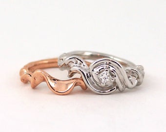 Water Ring Set - Handmade Wave Ring Beach Wedding Alternative Engagement Wedding Set Unique Ocean Ring Rickson Jewellery 184 185