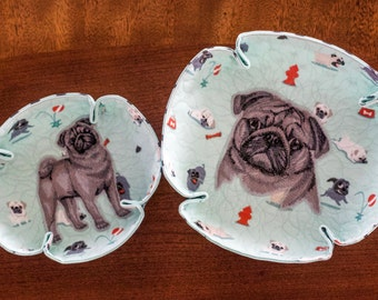 Pug Applique on Aqua Pugs Print Fabric Katch-All Octo Set