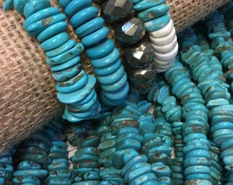 "Genuine Turquoise nugget Beads, turquoise chips, turquoise nuggets, 10mm - 14mm chip beads, 15.5"" strand, asymmetrical, 120 beads!"