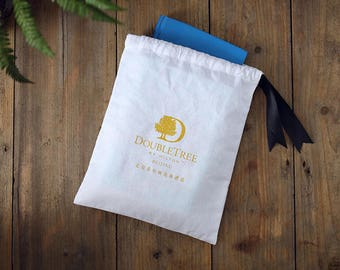 50 personalized logo gold print cotton bag Gift bags Drawstring Muslin Bags Pouches personalized Favor Kit jewerly Bag Party favor Bags