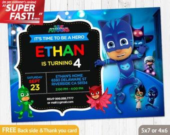 Pj Masks Invitation Etsy - Pj masks invitation template free