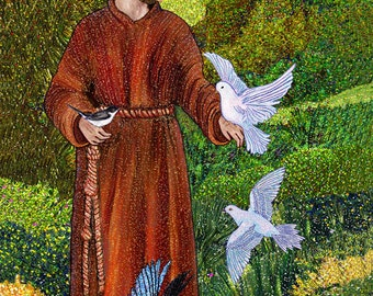 Print Art-St. Francis - Preaching to the Birds. Art Print on photo paper 30.5 x 45.4 cm