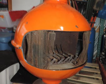 Mid Century Fire Place  MCM Fireplace Wood Stove Orange Mid Century Fire Ball  Space Age Free Standing Fireplace Round MCM Wood Stove
