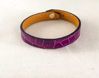 Leather Bracelet bright purple lined orange
