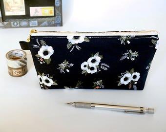 Black pencil case, floral pencil case, black zipper pouch, zipper pencil pouch, EpiPen case, stationery case,back to school