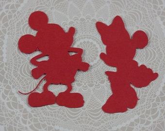 Minnie and Mickey Mouse die cuts, Minnie die cuts, Mickey die cuts, Minnie Cut Outs, Mickey and Minnie birthday decoration, papershapes