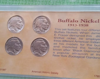 Buffalo nickel  collection in holder, old US coins  #J902B