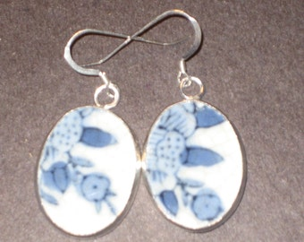 Blue Porcelain upcycled pottery shard earrings Ming Dynasty on Sterling Silver Earwires