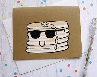 Pancakes Greeting Card Funny Greeting Card Cute Note Anytime Card Boyfriend Girlfriend Cute Breakfast Blank Card Any Occasion