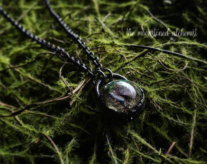 Nature blob Choker with crystals - immortalized moss, lichen, and bark infused with Amethyst Crystals, set in dark copper