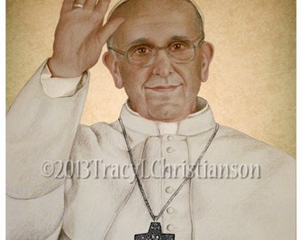 Pope Francis Catholic Art Print, Portrait, Holy Father #4043