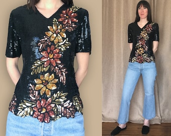 Vintage 1980s Stenay Black Sequin Top