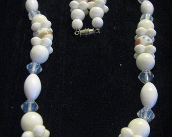 Vintage Necklace Artist milk glass