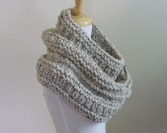 Knit Cowl, Chunky  Cowl, Infinity Scarf, Circle Scarf, Neck Warmer, Snood, Textured Cowl in Oatmeal - Ready to Ship Gift for Her