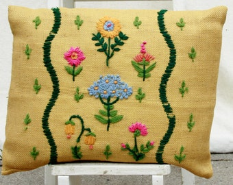 Vintage Burlap Embroidered Pillow