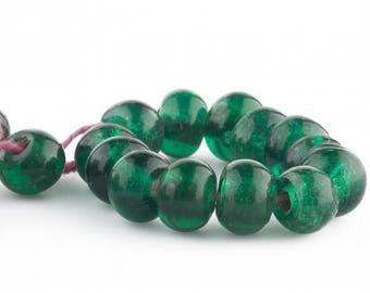 Antique Chinese translucent green Peking Glass beads 8x10mm. 10 pcs. b11-gr-2045(e)