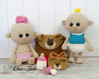 Lucy and Linus the Baby Twins - PDF Crochet Pattern - Instant Download - Amigurumi crochet Cuddy Stuff Plush